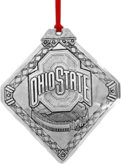 Wendell August Ohio State Football Stadium Ornament - Hand-Hammered Aluminum Hanging Stadium Ornament, for Buckeye Fans - Made in USA Tree Decoration, 3.5