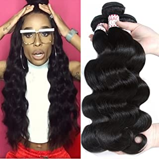 GRACE PLUS Brazilian Virgin Hair Body Wave 3 Bundles Deal 100% Unprocessed Body Wave Human Hair Weave Weft Extensions Natural Color Can be Dyed (18 20 22)