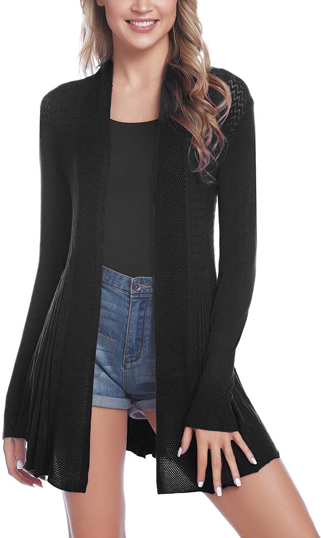iClosam Women Open Front Cardigans Long Sleeve Lightweight Knit Cardigan Sweater