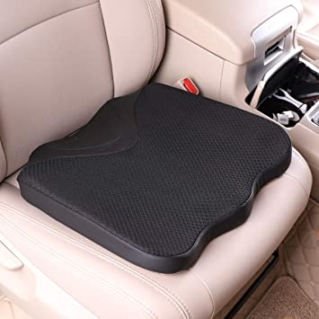 KINGLETING Car Seat Cushion, Driver Seat Cushion for Height, Universal Fit for Most for Auto SUV Truck,Provides Good Driving Visibility (Black): image