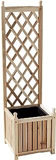 DMC Products Lexington 16-Inch Square Solid Wood Trellis Planter, Natural