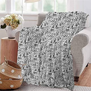 Luoiaax Letter Children's Blanket Greyscale Illustration of Numbers Letters Collage Alphabet Composition Lightweight Soft Warm and Comfortable W54 x L72 Inch Pale Grey Black White