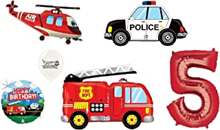 Red Number (1st-9th Birthday Option) Rescue Team Ambulance Fire Truck Police First Responders Themed Birthday Party Balloon Bouquet Bundle (5th Birthday)