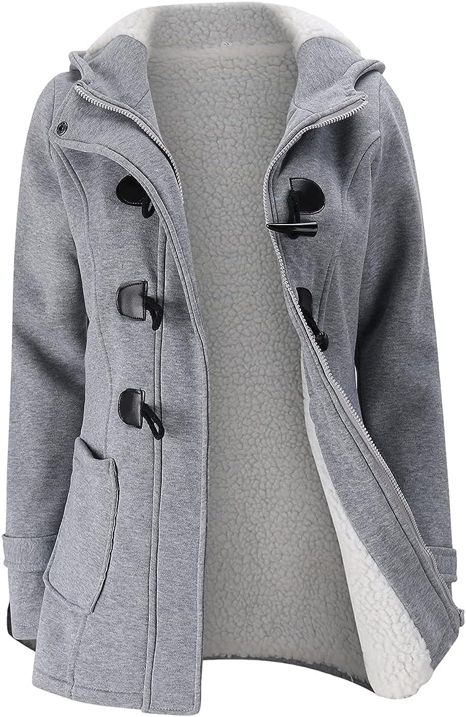 Xishiloft Womens Hooded Lamb Wool Button Horn Selling and selling Fleece online shop Jacket Line