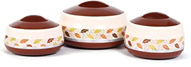 Jayco Hot and Hot Set of Three Insulated Plastic Casserole 500ML 800Ml 1500ML (Brown)