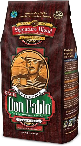 2LB Cafe Don Pablo Gourmet Coffee Signature Blend Medium Dark Roast Coffee Whole Bean Coffee 2 Pound 2lb Bag