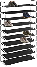 MaidMAX 10 Tiers Free Standing Shoe Rack for 50 Pairs of Shoes Organizer in Closet Entryway Hallway, Metal Frame and Fabric Shelves, 39.4 x 11.4 x 68.9'', Black