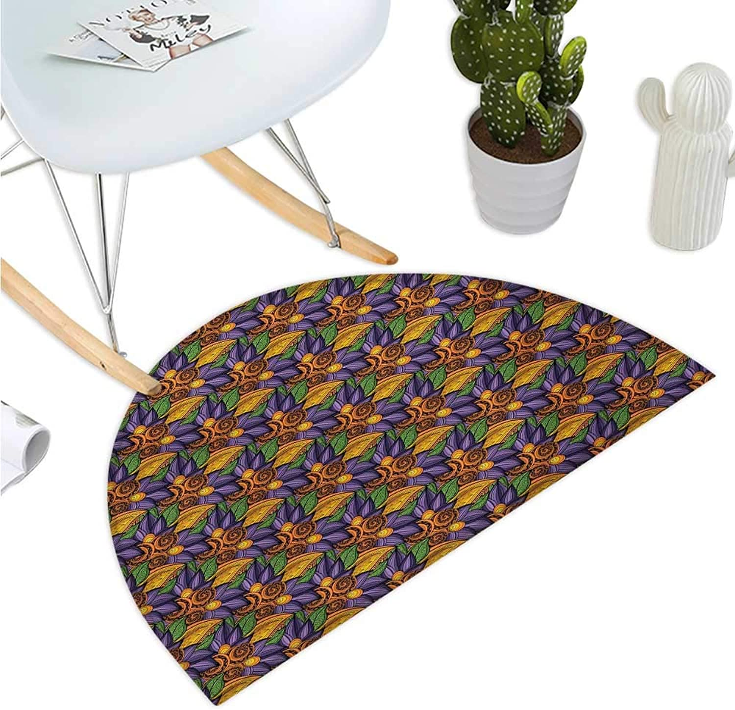 Leaf Semicircular Cushion Hand Drawn Floral Composition with Vibrant colors and Abstract Style Summer Nature Bathroom Mat H 35.4  xD 53.1  Multicolor