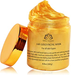 24K Gold Facial Mask By White Naturals: Rejuvenating Anti-Aging Face Mask For Flawless Skin, Reduces Fine Lines & Wrinkles,Clears Acne,Minimizes Pores,Moisturizes & Firms Up Your Skin