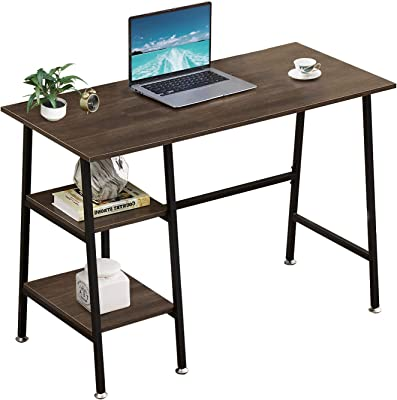 """VECELO Writing Computer Study Desk with 2 Tier Storage Shelves on Left or Right,Industrial Simple Style Wood Table Metal Frame for Home Office,Brown, 43""""x20""""x30"""""""