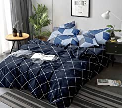 Magnetic Shadow Glace Cotton Queen Size Duvet Cover Quilt Cover Rajai Cover 90x100 inches (Blue Check)