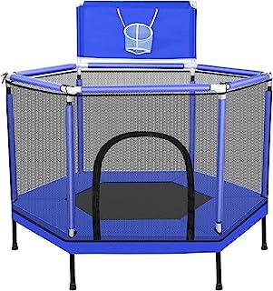 Barn studsmatta, Mini studsmatta med inneslutningsnät, hem inomhus studsmatta med 50 havsbollar, för barn,Blue