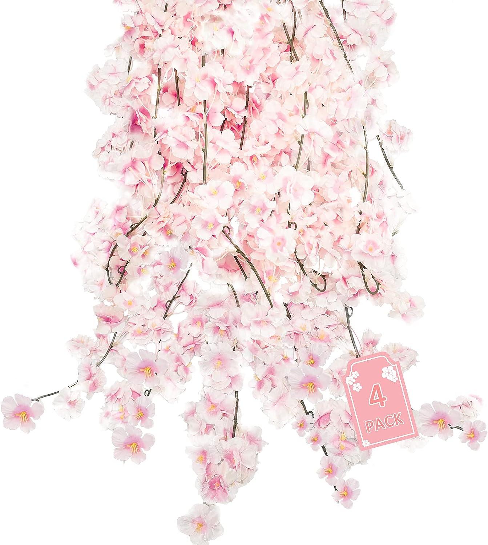 Uieke 4pcs 5.9ft/Pieces Flower Garland Fake Vines Artificial Cherry Blossom Flowers Vines Cherry Blossom Décor Hanging Silk Flowers Garland for Wedding Party Home Kawaii Room Decor (Pink)