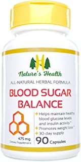 Blood Sugar Balance, Blood Glucose Support Supplement, Promotes Healthy Blood Glucose Levels and Insulin Activity, 475 Mg, 90 Capsules, Nature's Health