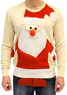 Ugly Christmas Sweater Santa Claus Full Body Adult Beige Sweater