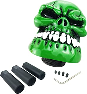 Arenbel Skull Shifter Knob Gear Stick Shifting Knobs Adapter fit Most Universal Manual Automatic Vehicle, Green
