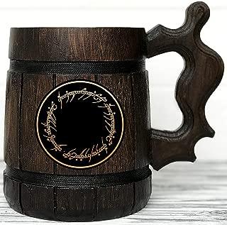 One Ring Mug. Lord Of The Rings Gifts/Wood Mug/LOTR Mug/Hobbit Beer Stein/Wood Beer Mug/Wooden Beer Mug/LOTR Gift/Engraved Mug/Gift for Men/Beer Tankard K47