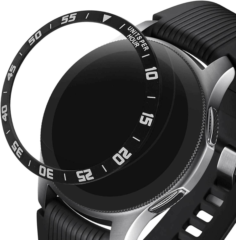 kwmobile Anillo Protector Adhesivo Compatible con Samsung Galaxy Watch (46mm) / Galaxy Gear S3 Frontier & Classic - Bisel para smartwatch en Negro/Plata