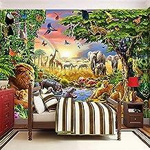 Foto muurschildering fleece behang 3D cartoon groene dieren leeuw zebra kinderkamer slaapkamer home decor wanddecoratie fo...