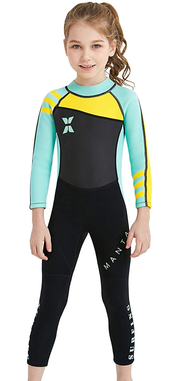 DIVE&SAIL Kids Boys Girls 2.5mm Neoprene Wetsuit Thermal One Piece UV Protection Thermal Swimsuit