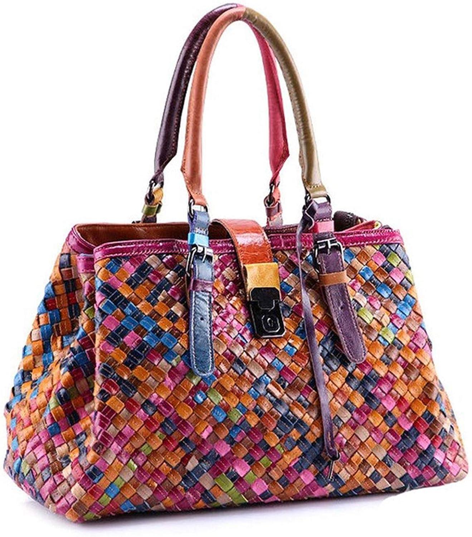 Leather Bags Weave Handbags Women's Shoulder Bag colorful handbag female