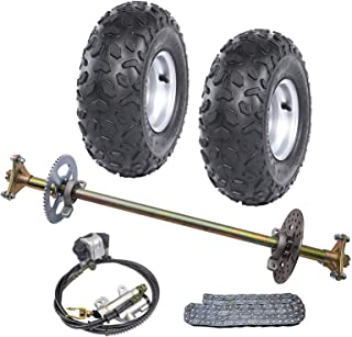 WPHMOTO Rear Axle Shaft Kit with 145/70-6 Tubeless Wheels Tires Rims Brake Assembly and Chain & Sprocket for Go Kart Quad Trike Drift Bikes