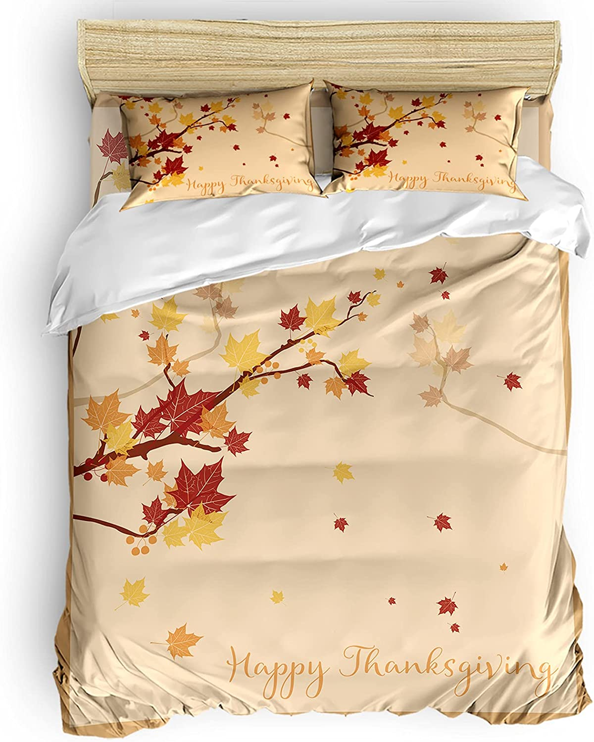 YOKOU Duvet safety Cover Set Full Thanksgiving Maple Happy Free shipping New Size Leave