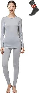 Sponsored Ad - Naturwool Women's 100% Merino Wool Base Layer John Set Thermal Underwear Top and Bottom