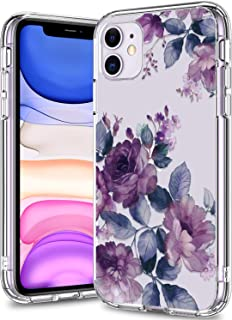 BICOL iPhone 11 Case Clear with Design for Girls Women,12ft Drop Tested,Military Grade Shockproof,Slip Resistant Slim Fit Protective Phone Case for Apple iPhone 11 6.1 inch 2019 Purple Blossoms