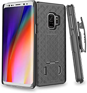 S9 Case, Moona Shell Holster Combo Case for Samsung Galaxy S9 Case with Kickstand & Belt Clip '3 Year Warranty' Galaxy S9 Belt Clip Case, Stylish Thin Hard Galaxy S9 Holster Case