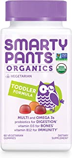 Daily Organic Gummy Toddler Multivitamin: Vitamin C, D3 & Zinc for Immunity, Probiotic for Digestive Support, Omega 3 Fish Oil, Selenium, Biotin, B6, Methyl B12 by SmartyPants 60 Count (30 Day Supply)