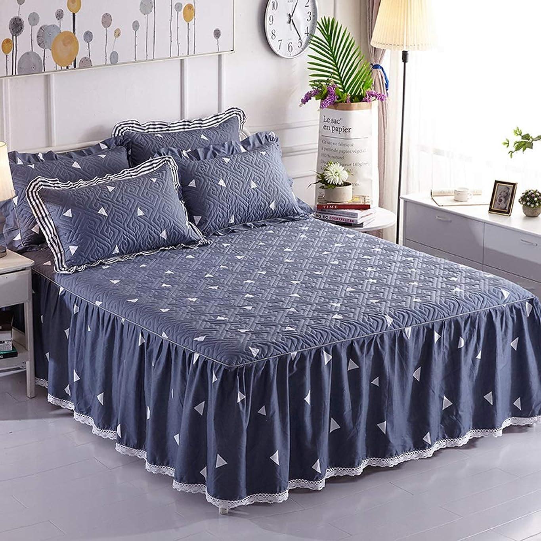 定期的キルスデータムコットンのベッドスカート豪華なプレミアム品質しわと退色耐性マイクロファイバーマルチフリル滑り止め保護ケース - ほこりを追加 (色 : L l, サイズ さいず : 150x200cm+pillowcase)