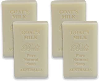 Bela Bath & Beauty, Bela Pure Embossed Soap Bars, Goat's Milk, With Shea Butter and Essential Oils, 6.5 oz Each - Set of 4