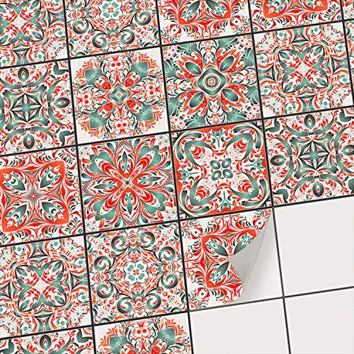 creatisto Sticker-Fliesen Dekor I Fliesen-Klebefolie - selbsklebend - Fliesenspiegel aufpeppen I Kachel-Aufkleber zum renovieren von Bad und Küche I 20x20 cm - Motiv Mexican Tiles - 18 Stück