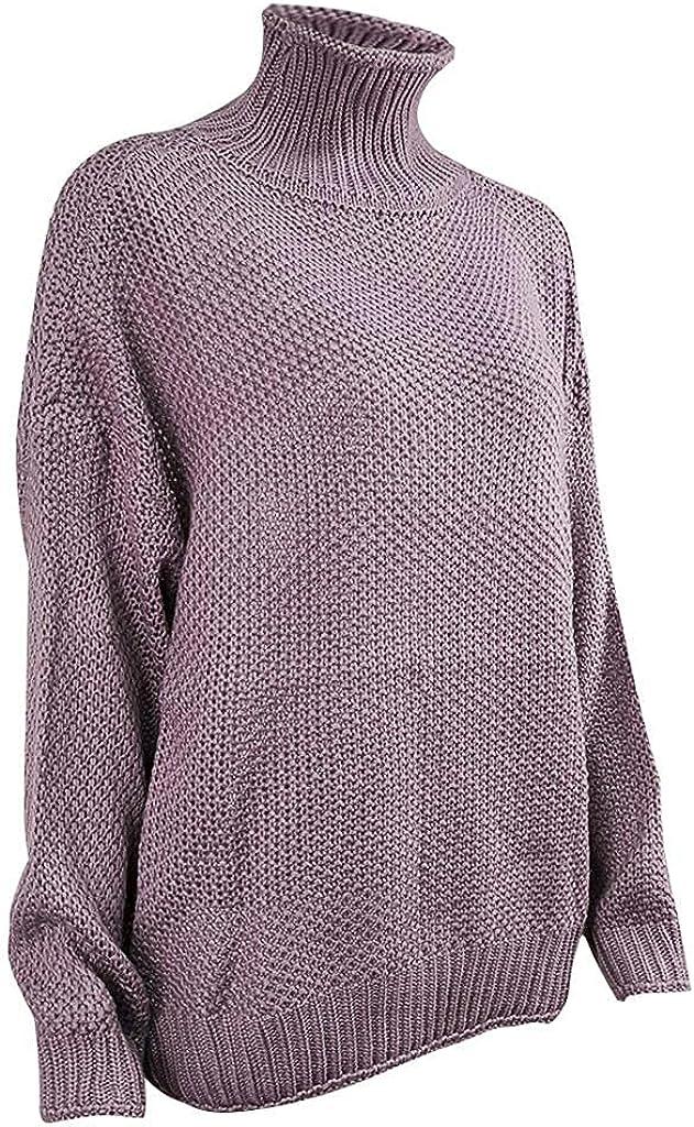 FABIURT Women's Casual Color Block Turtle Cowl Neck Sweater Button Asymmetric Hem Wrap Pullover Sweaters Blouse Tops