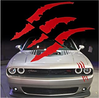 (Bloody Red) - Red Monster Claws Scratch Headlight Decal Die-Cut Vinyl Sticker for Halloween[Blood Red]