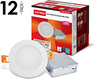 OSTWIN Premium 12W (60 Watt Repl.) 4 inch LED Recessed Lighting, Low Profile LED Downlight with Junction Box, Round, Dimmable, IC Rated, 4000K, 900 Lm, No Can Needed (12 Pack) ETL & Energy Star Listed