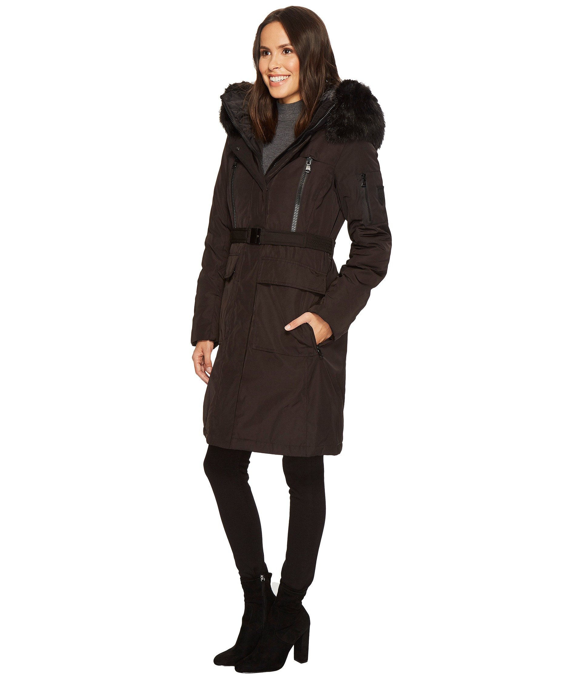 Vince Camuto Belted Long Coat With Faux Fur Detail N8441