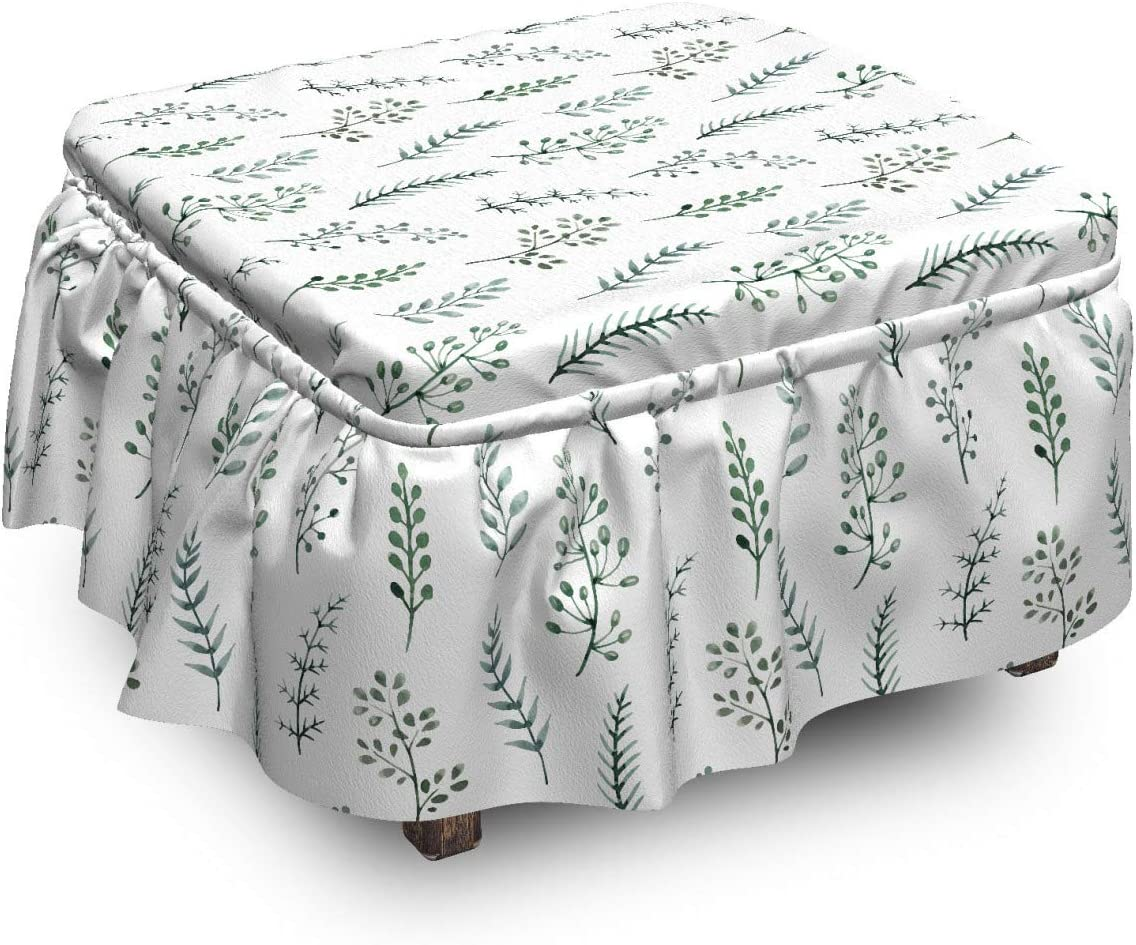 Ambesonne Nature Ottoman NEW before selling All items free shipping ☆ Cover Watercolor 2 Pi Herbs Botanical