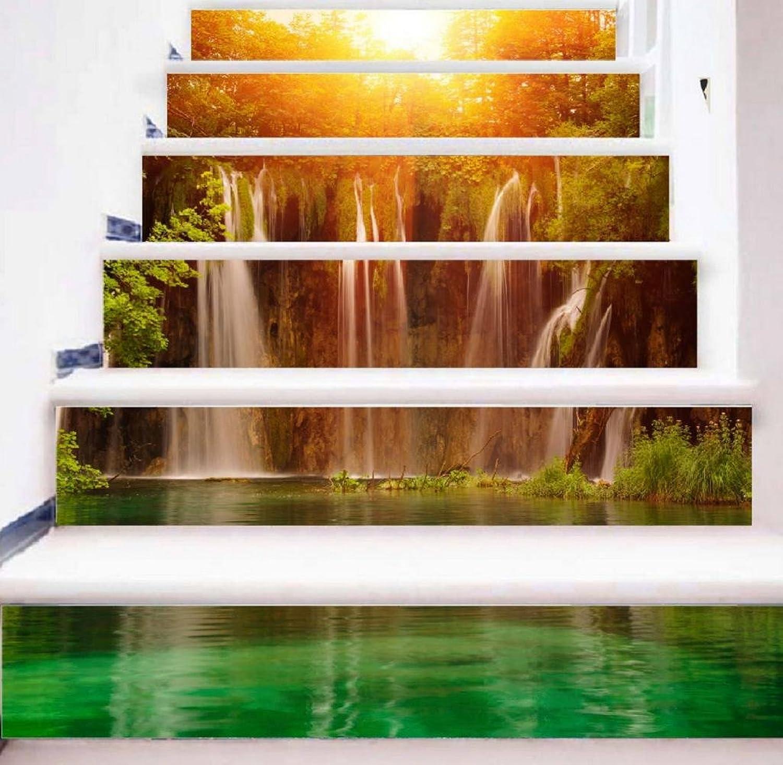 TIEZHI 3D Realistisch Sonnenschein Wasserfall Kreativ DIY Treppenabziehbilder Mode-Heimtextilien Selbstklebend Wandaufkleber Wandbild, 1 Set 18 pcs, 100  18cm B07CB4FTZM | Attraktiv Und Langlebig