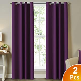 Blackout Curtain Panels 84 Inch Long Thermal Insulated Solid Grommet Blackout Drapes for Livingroom, Room Darkening Thermal Insulated Solid Window Blackout Draperies 2 Panel, Navy, 52