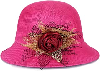 Lei Zhang Hat Ladies Summer New Linen Fashion Shade Outdoor Sunscreen Bonnet Straw hat top hat (Color : Rose 2)