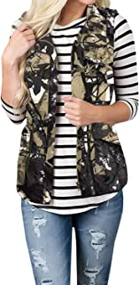 Women Vest Camouflage Utility Waistcoat Tie Waist Button Down Sleeveless Jackets Coat