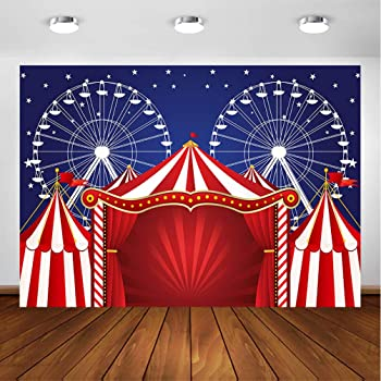 8x12 FT Circus Vinyl Photography Backdrop,A Circus Sign Baroque Style Big Top Enjoyment Theme Marquee Nightlife Retro Background for Baby Shower Bridal Wedding Studio Photography Pictures