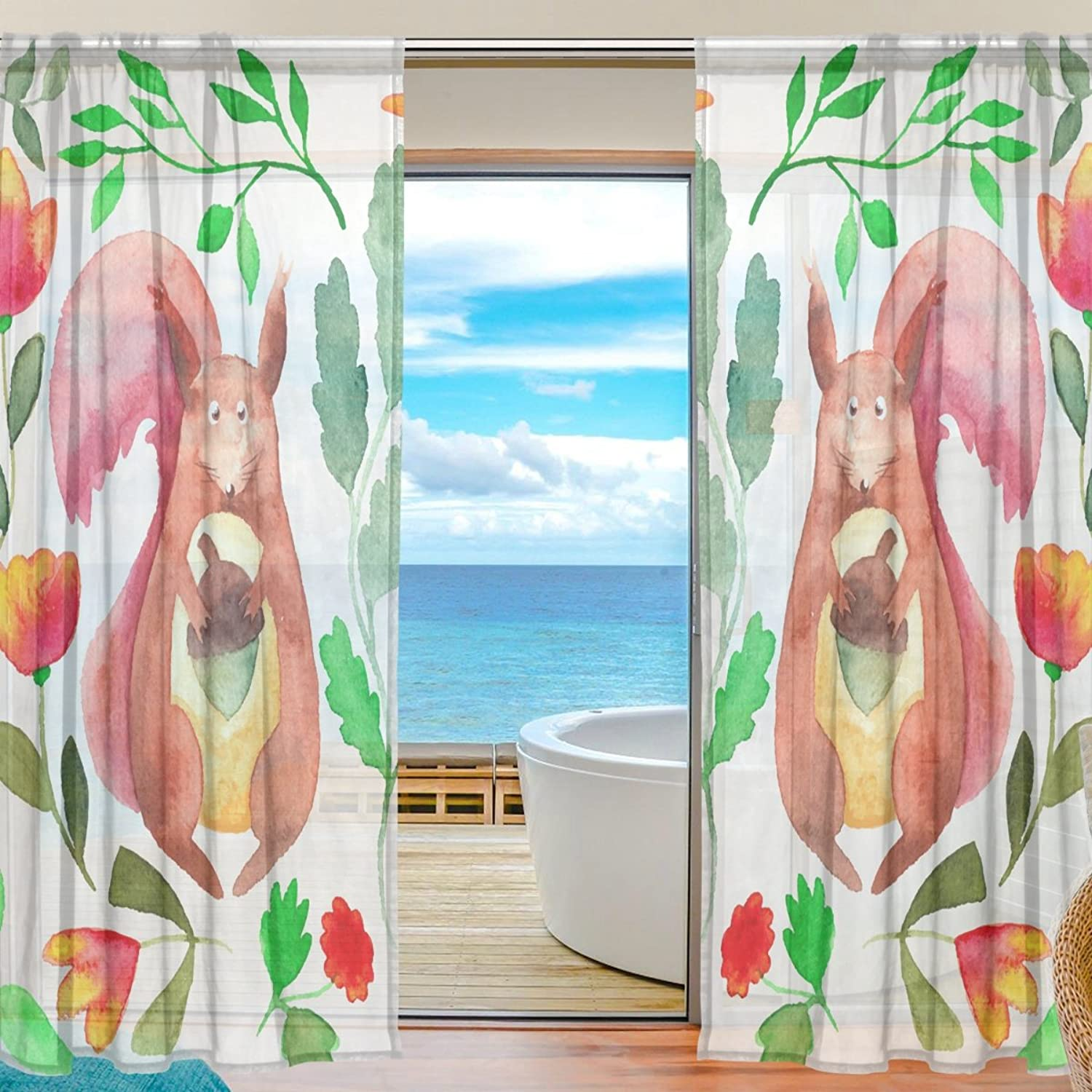Vantaso Sheer Curtains 78 inch Long Squirrel Floral for Kids Girls Bedroom Living Room Window Decorative 2 Panels