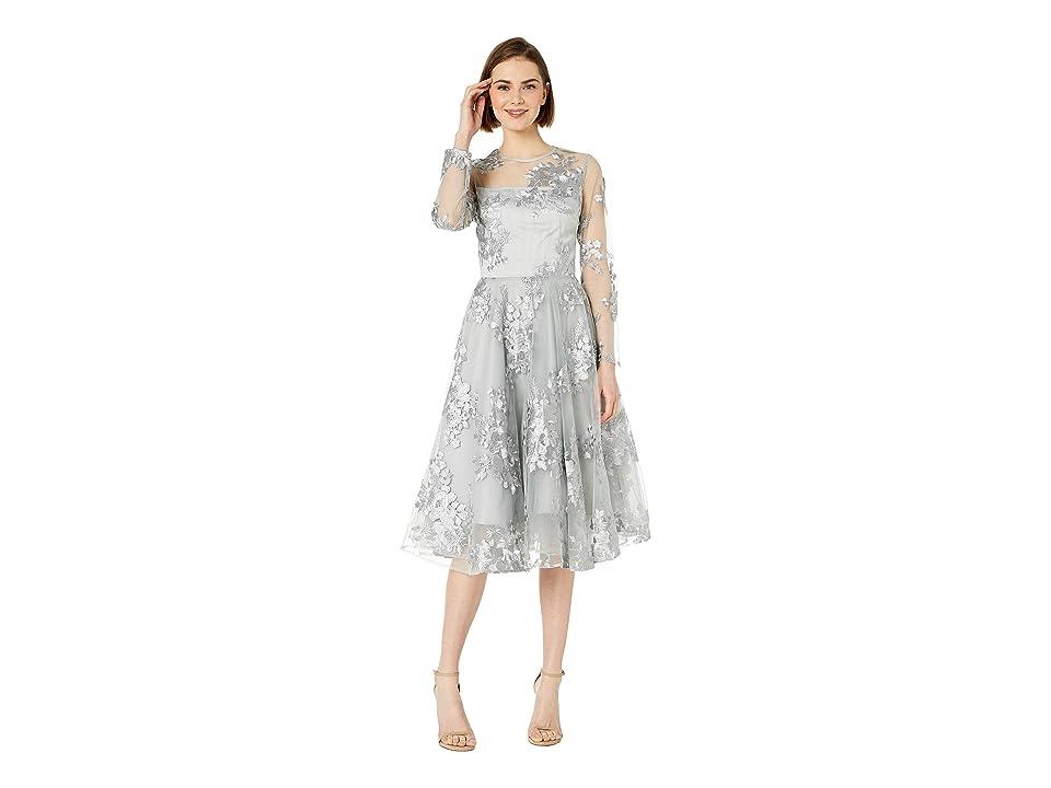 Bebe Circle Embroidered Mesh Dress (Grey) Women