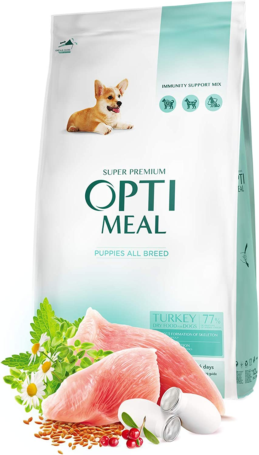 OPtimeal Dry Dog Food for Puppies High-Pro Max 74% OFF All - National uniform free shipping Breeds Turkey