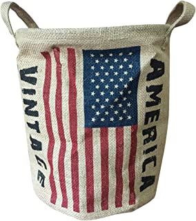 NewFeru Collapsible Vintage Round Burlap Woven Storage Basket Bin Linen Food Container Holder Jute Toy Bucket Organizer with Handles,Flags for Home Closet Cabinet Shelves,Room Table Desk (America)
