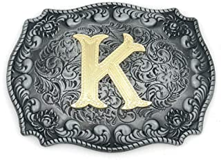 Western Belt Buckle Initial Letters ABCDEFG to Y-Cowboy Rodeo Silver Large Belt Buckle for Men and Women (A) Upgrade