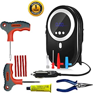 amiciAuto Tubeless Tyre Puncture Repair Kit Combo with Auto Cut Digital Inflator Tyre Air Pump for Car and Bikes, Power 120W, 12V